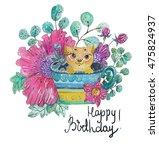 cute watercolor illustration...   Shutterstock . vector #475824937