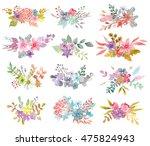 flower watercolor illustration. ... | Shutterstock . vector #475824943