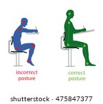 correct and incorrect posture... | Shutterstock .eps vector #475847377