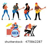 musicians rock group isolated... | Shutterstock .eps vector #475862287