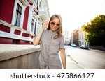 young beautiful cheerful girl... | Shutterstock . vector #475866127