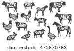 vector set of butchery logos.... | Shutterstock .eps vector #475870783
