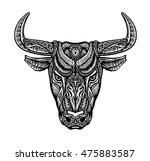 bull  taurus  buffalo painted... | Shutterstock .eps vector #475883587