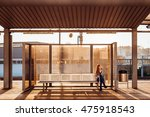 lonely girl sits on the steel... | Shutterstock . vector #475918543