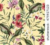 seamless tropical flower... | Shutterstock . vector #475927123