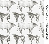 cows and bulls. seamless vector ... | Shutterstock .eps vector #475930927