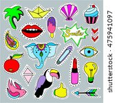 collection of cartoon patch... | Shutterstock .eps vector #475941097