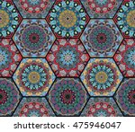 hex boho pattern. seamless... | Shutterstock .eps vector #475946047