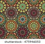 hex boho pattern. seamless... | Shutterstock .eps vector #475946053
