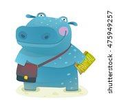 Hippopotamus Kid Student With...
