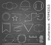 white hand drawn vector elements | Shutterstock .eps vector #475992313