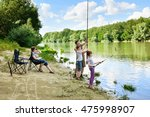 family camping and fishing ... | Shutterstock . vector #475998907