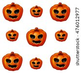 a set of pumpkins carved with... | Shutterstock .eps vector #476012977