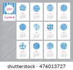 calendar 2017 with hand drawn... | Shutterstock .eps vector #476013727