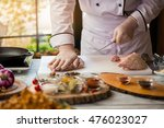 hand touches raw meat. chef... | Shutterstock . vector #476023027