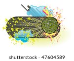 funky banner  with mirrorball.... | Shutterstock .eps vector #47604589