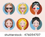 girls faces flat rounds icon... | Shutterstock .eps vector #476054707