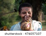 Small photo of TIS ABAY, ETHIOPIA, - NOVEMBER, 2016. PORTRAIT OF A GIRL FROM THE ETHNIC GROUP AMHARA