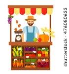 farmer selling vegetables and... | Shutterstock .eps vector #476080633
