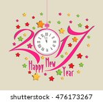 happy new year 2017 clock and... | Shutterstock .eps vector #476173267