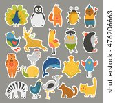 set of stickers with baby... | Shutterstock . vector #476206663
