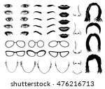 woman face parts  eye  glasses  ... | Shutterstock .eps vector #476216713