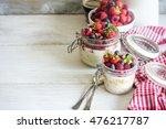 overnight oats  bircher muesli  ... | Shutterstock . vector #476217787