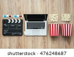 laptop  clapper board  popcorn... | Shutterstock . vector #476248687