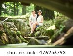 smiling couple in park | Shutterstock . vector #476256793