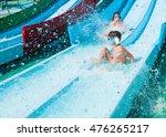 children on water slide in aqua ... | Shutterstock . vector #476265217