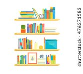 flat book shelves with colorful ... | Shutterstock .eps vector #476271583
