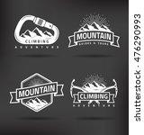 climbing mountain vector label... | Shutterstock .eps vector #476290993