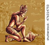 indian god hanuman praying for... | Shutterstock .eps vector #476314753