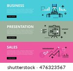 flat line web banners of... | Shutterstock . vector #476323567