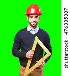 architect man on white | Shutterstock . vector #476335387
