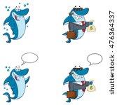 Blue Shark Cartoon Mascot...