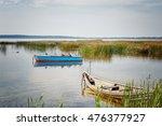Wild Ducks Sit On The  Boat.