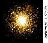 Golden Glow Light Effect. Star...