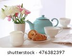 Croissants With Flower In Vase...