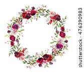 watercolor floral wreath purple ... | Shutterstock . vector #476390983