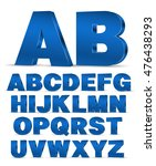 Blue colored 3D style decor poster typeface vector font. Set of latin capital letters and numbers | Shutterstock vector #476438293