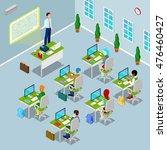 isometric computer classroom... | Shutterstock .eps vector #476460427