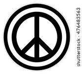 peace symbol button on white