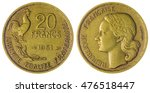 Small photo of Aluminum Bronze 20 francs 1951 coin isolated on white background, France