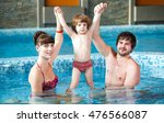 family swimming in the pool. | Shutterstock . vector #476566087