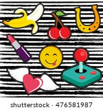 set of fun patches or stickers... | Shutterstock .eps vector #476581987