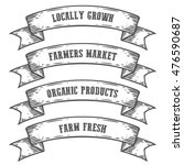 farmers market emblem ribbon.... | Shutterstock .eps vector #476590687