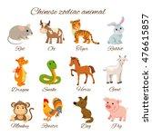 set chinese zodiac animal... | Shutterstock .eps vector #476615857