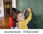 image of adorable boy writing... | Shutterstock . vector #476621683