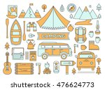 line icons set of camping.... | Shutterstock .eps vector #476624773